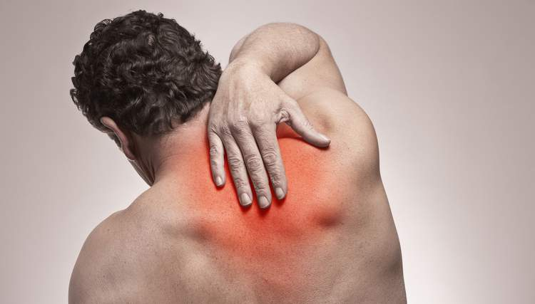 image of pain in the rib joint in the upper back