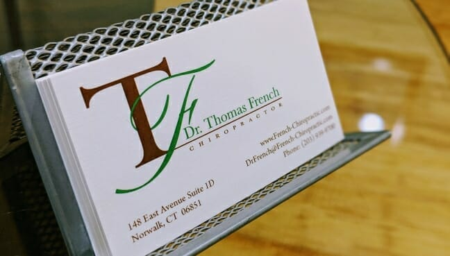 Dr French, Norwalk Chiropractor Business card